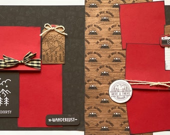 Look At Us Being All Outdoorsy 2 page Scrapbooking Layout Kit or Premade Scrapbooking Pages,  diy craft kit Travel craft kit