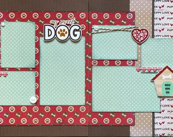 My Sweet Dog - Puppy Love Scrapbooking 2 Page Scrapbooking Layout Kit or Premade Scrapbooking Pages Dog diy craft kit puppy diy craft kit