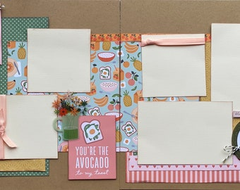 You're the Avocado to My Toast 2 Page Scrapbooking Layout Kit or Premade Scrapbooking Pages DIY Family Craft