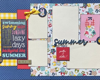 Hot Summer - Good Friends and Good Adventures Ahead 2 Page Summer Scrapbooking Layout Kit DIY or Premade Scrapbooking kit summer craft