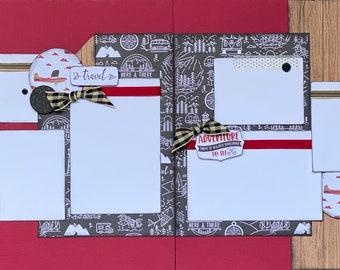 Time To Travel 2 page Scrapbooking Layout Kit or Premade Scrapbooking Pages,  diy craft kit Travel craft kit, diy travel