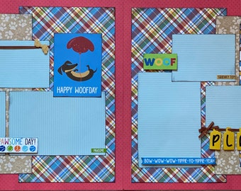 Happy  Woof Day Scrapbooking 2 Page Scrapbooking Layout Kit or Premade Scrapbooking Page Dog diy craft dog Birthday Craft kit