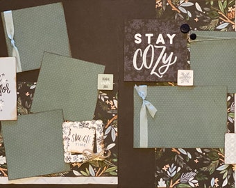 Keep Calm and Wait for Snow - Stay Cozy 2 page Scrapbooking DIY Layout Kit or Premade Scrapbooking Pages, Craft Kit,  DIY craft kit