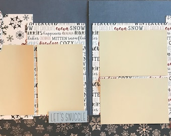 All you Need is Cocoa and a Pair of Warm Socks 2 Page Scrapbooking layout Kit or Premade Scrapbooking Pages