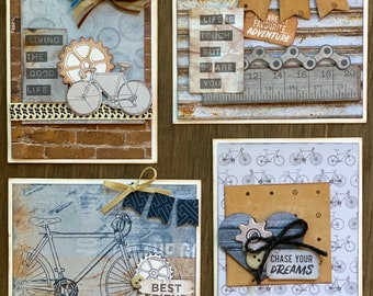 Workshop/ Bike Themed Card Kit Set 1 - 4 pack DIY Card Kit Bike Craft Bike DIY craft