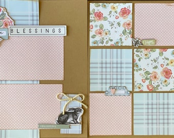 Spring Blessings  2 Page Scrapbooking Layout Kit or Premade Scrapbooking Pages