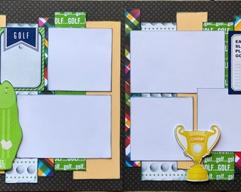 Tee Time - Golf 2 page Scrapooking Layout Kit or Premade Scrapbooking Pages