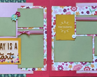 Everyday is a Fresh Start 2 Page Scrapbooking Layout Kit and Premade Scrapbooking Pages DIY Scrapbooking Kit