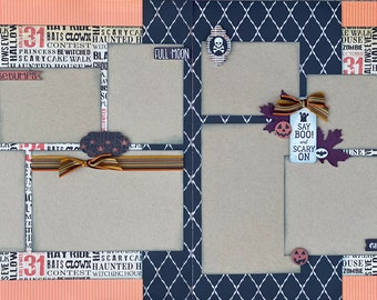 Shake Rattle and Roll - Halloween 2 Page Scrapbooking Layout Kit or Premade Scrapbooking Pages halloween DIY craft kit