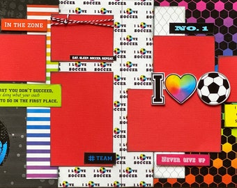 I Love Soccer - Eat, Sleep, Soccer, Repeat  2 page Scrapbooking Layout Kit or Premade Scrapbooking Pages soccer diy craft kit
