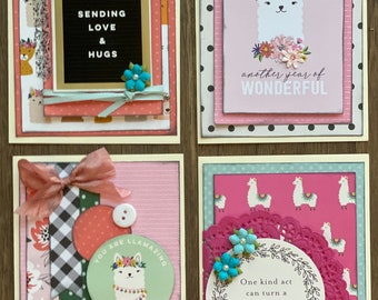 Llama / Alpaca Themed  Card Kit Set   - 4 pack DIY Card Kit