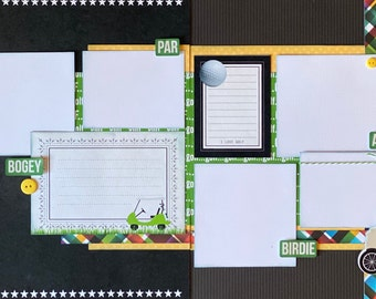 Golf - Bogey, Par, Birdie 2 page Scrapooking Layout Kit or Premade Scrapbooking Pages