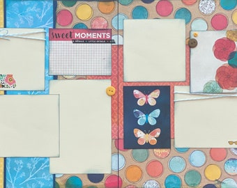 Sweet Moments   2 page Scrapbooking Layout Kit or Premade Scrapbooking Pages DIY Scrapbooking Kit DIY craft