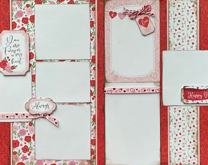 Featured listing image: You Are Forever In My Heart DIY 2 Page Scrapbooking Layout Kit or Premade Scrapbooking Pages, Happy Valentines Day DIY Craft Kit