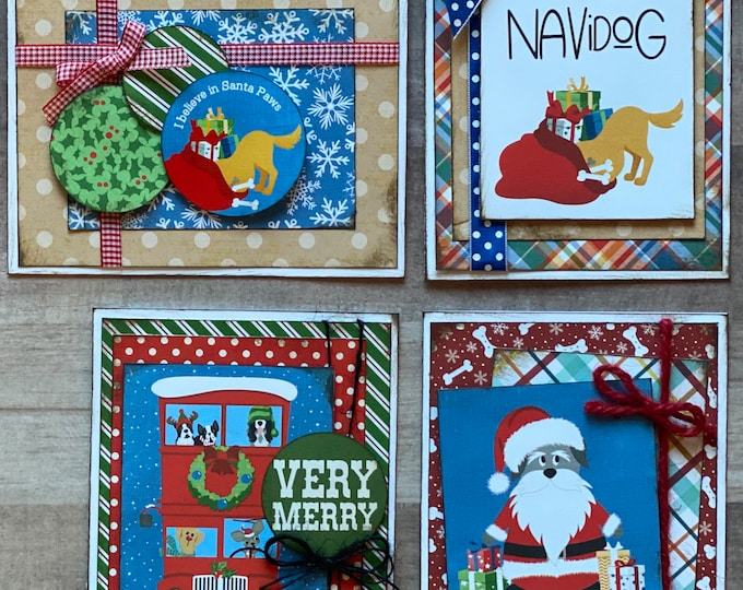 Featured listing image: Feliz Navi DOG - Dog Themed Christmas Card Kit- 4 pack DIY Dog Christmas Card Making Kit