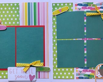 Feeling Under the Weather - Get Well Soon 2 Page Scrapbooking Layout Kit or Pre Made Scrapbooking Pages