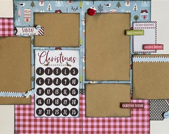 Countdown to Christmas - NOEL 2 Page Scrapbooking Layout Kit or Premade Scrapbooking Pages