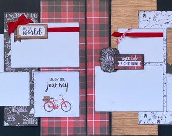 See The World, Enjoy The Journey 2 page Scrapbooking Layout Kit or Premade Scrapbooking Pages,  diy craft kit Travel craft kit, diy