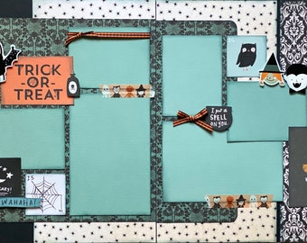 Witch Way to the Candy?  Trick or Treat 2 Page Scrapbooking Layout Kit or Premade Scrapbooking Pages halloween DIY craft kit