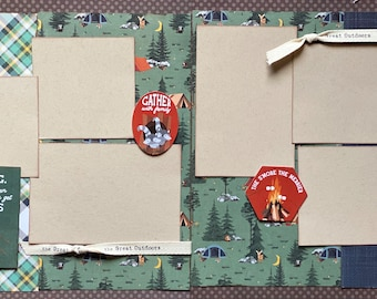 Camping - It's Cheaper than Therapy and You Get S'Mores  2 page Scrapbooking Layout Kit or Premade Scrapbooking Pages