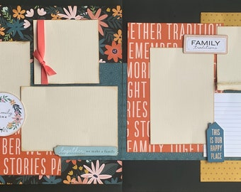 Family Time- This is Our Happy Place  2 page Scrapbooking Layout Kit or Premade Scrapbooking Pages DIY Family craft