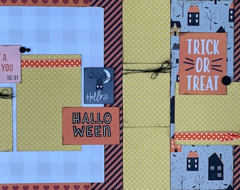 I'll Put a Spell on You - Trick or Treat Halloween 2 Page Scrapbooking Layout Kit or Premade Scrapbooking Pages halloween DIY craft kit