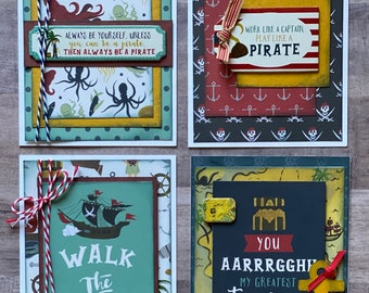 Pirate Themed Greeting Card DIY Kit- 4 pack