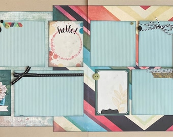 Hello Love This Genera 2 Page Scrapbooking layout KIt or Premade Scrapbooking Pages Scrapbooking DIY craft kit