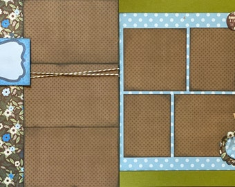 Happiness is a Cabin in the Woods 2 page Scrapbooking Layout Kit or Premade Scrapbooking Pages