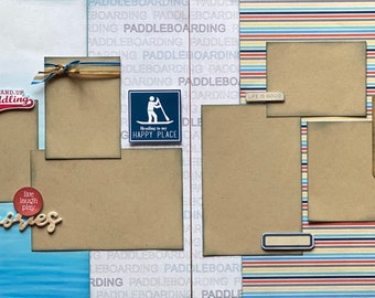 Stand Up Paddle Boarding, It's More Fun Standing Up 2 Page Scrapbooking layout Kit or Premade Scrapbooking Pages Paddle Board DIY craft kit