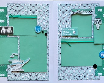Eat Sleep Ortho Repeat 2 Page Scrapbooking Layout Kit or Pre Made Scrapbooking Pages orthodontist craft kit