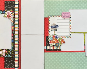 Choose Your Own Destination - Love you to the Moon and Back 2 Page Scrapbooking layout Kit or Premade Scrapbooking Pages