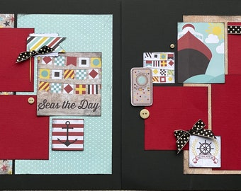 Sail Away With Me, Seas The Day -  2 page scrapbooking layout Kit or Premade Scrapbooking Pages, Cruise DIY Kit, Cruise Scrapbook Page Kit