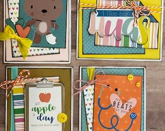 An Apple A Day, Get Well Soon  Themed Card Kit Set - 4 pack of DIY Get Well Soon themed cards