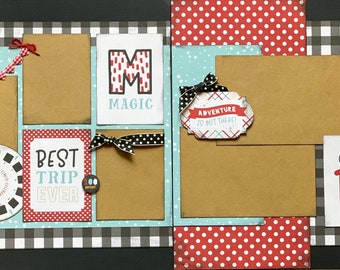 Best Trip Ever- Disney Inspired 2 page Scrapbooking layout Kit or Premade Scrapbooking Pages, Disney Inspired diy craft kit