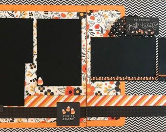 Eat, Drink and Be Scary - Pumpkin Teeth!, 2 Page Scrapbooking Layout Kit or Premade Scrapbooking Pages