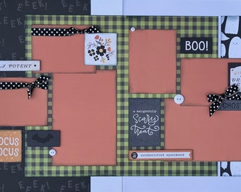 Hocus Pocus - Boo! 2 Page Scrapbooking Layout Kit or Premade Scrapbooking Pages halloween DIY craft kit
