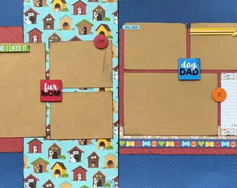 Go with the Flow 2 Page Scrapbooking Layout Kit or Premade Scrapbooking Pages Think Pawsitive