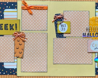 Hello Halloween - EEK!!  2 Page Scrapbooking Layout Kit or Premade Scrapbooking Pages