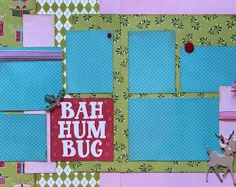 Bah Hum Bug  Christmas  2 Page Scrapbooking Layout Kit or Premade Scrapbooking Pages  diy craft kit