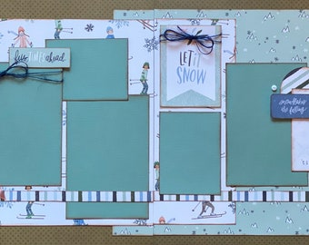Sledding Party Fun Times Ahead 2 page Scrapbooking DIY Layout Kit or Premade Scrapbooking Pages,  Skiing Craft Kit, Sledding DIY craft kit