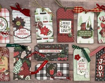 Holiday Gift Tag Set Christmas Themed  Kit- 12 pack DIY Handmade Christmas Tag Set Christmas craft kit