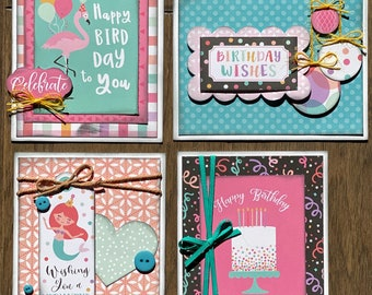 Birthday  Themed Card Kit Set #2  - 4 pack DIY Card Kit