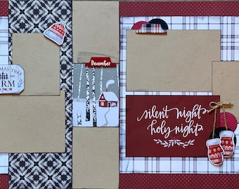 Silent Night, Holy Night  2 Page Scrapbooking Layout Kit or Premade Scrapbooking Pages Christmas diy craft kit