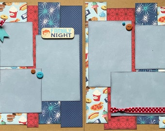 Family Night - Best Friends 2 Page Scrapbooking Layout Kit or Premade pages