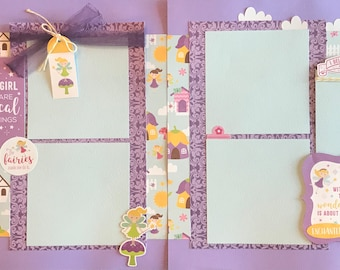 Little Girl Dreams are Magical Things 2 page scrapbooking layout kit or Premade Scrapbooking Pages