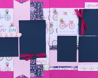 Travel New Roads - Go Somewhere Fun!  2 Page Scrapbooking layout Kit or Premade Scrapbooking Pages