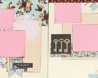 Family is the Key to Everything 2 Page Scrapbooking Layout Kit or Premade Scrapbooking Pages
