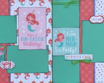 Have a Fin-Tastic  2 Page Scrapbooking layout KIt or Premade Scrapbooking Pages Birthday diy craft kit