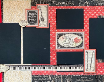 Music Can Change the World 2 Page Scrapbooking Layout Kit or Premade Scrapbooking Pages